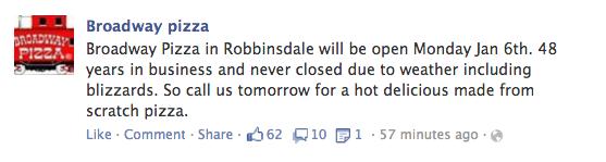 Broadway Pizza Facebook post