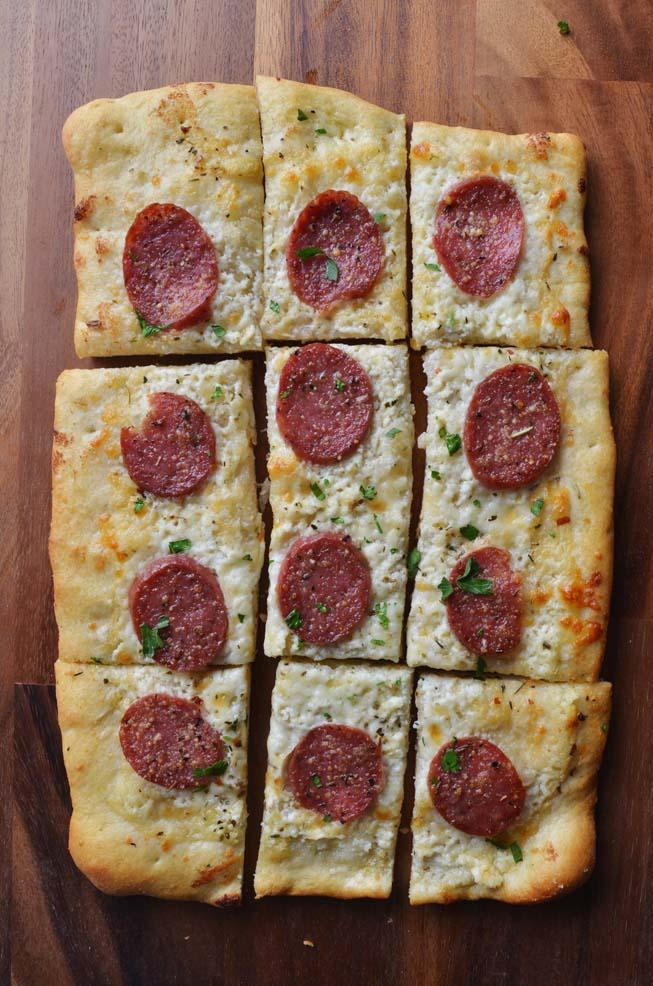 Salumi, pizza, rustic, rectangle, slices, recipe