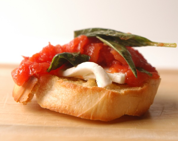 Tomato, Basil and Mozzarella Bruschetta