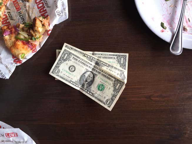 tip, cash, table