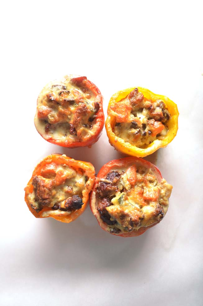 mornay sauce, stuffed peppers, green peppers, Italian sausage, bacon, mushrooms, onion, mozzarella