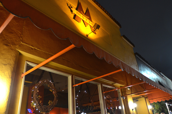 exterior night at Mozza in Los Angeles