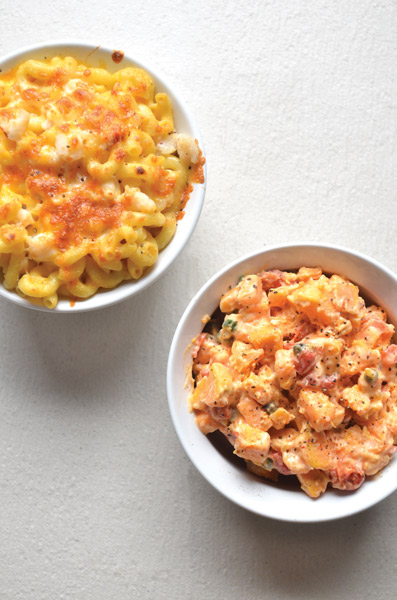 mac and cheese and red potato salad