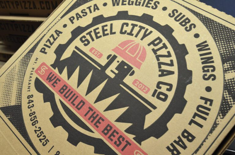 customized pizza box at steel city pizza company in Charleston South Carolina