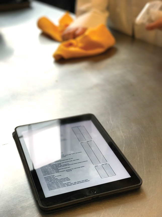 pizzeria menu on an ipad