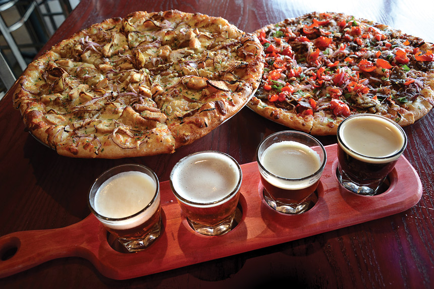 beer flight, pizza