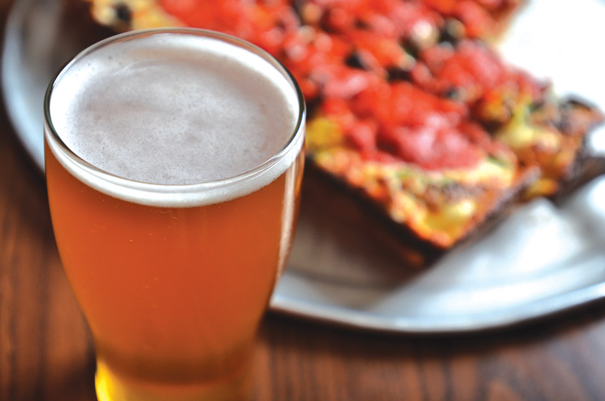 beer and detroit style pizza