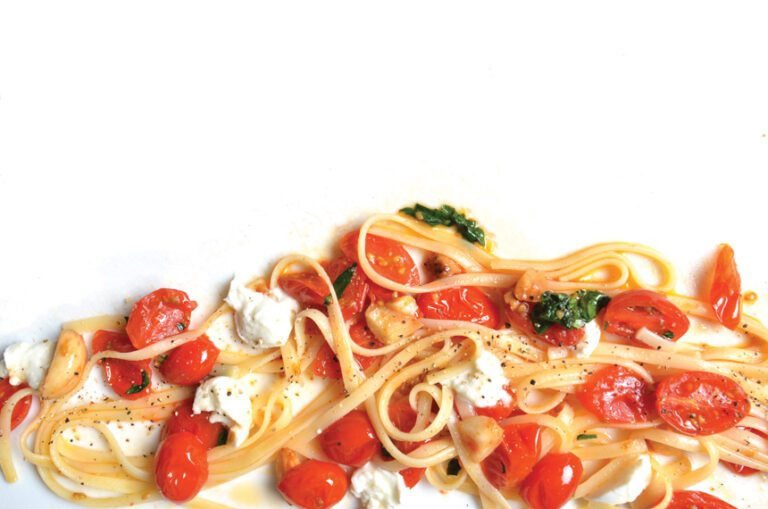 linguine, tomatoes, goat cheese, basil