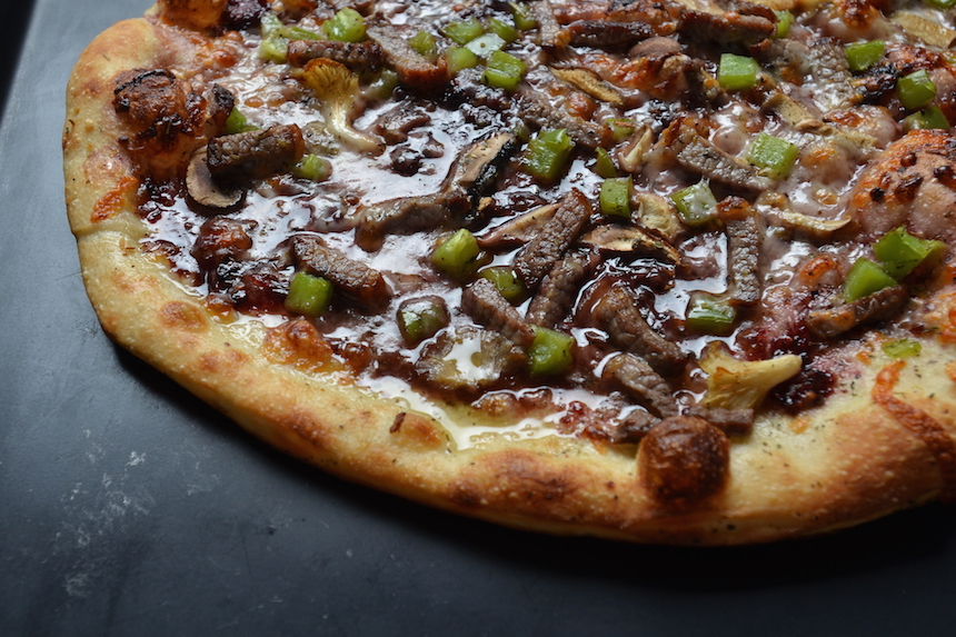 pork belly, barbecue sauce, bbq, pizza topping
