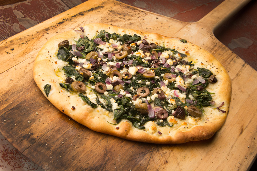 greek, pizza, spinach, feta, recipe