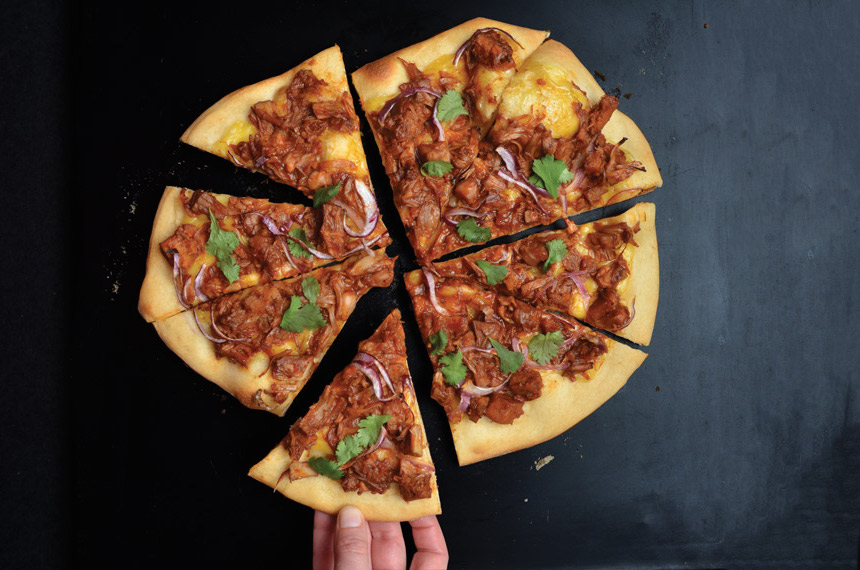 jackfruit barbecue, pizza, vegan, plant-based