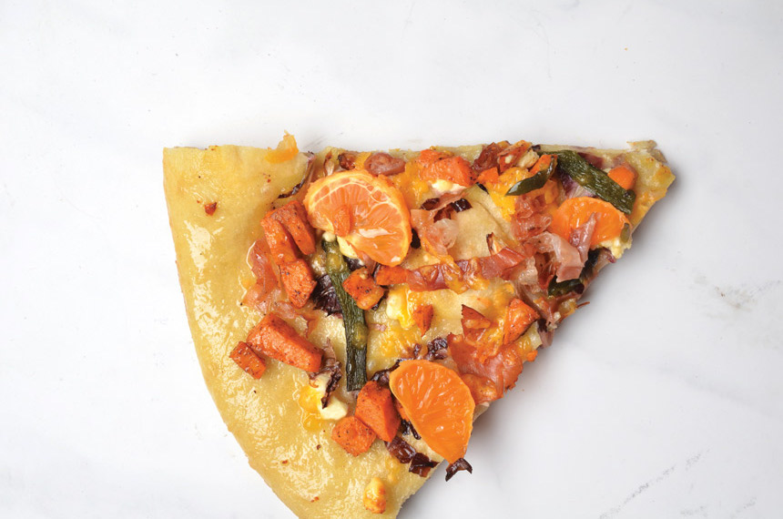"""Orange you Fabulous!"" Sweet Potato Pizza with Mandarins, Charred Poblano and Cheddar"