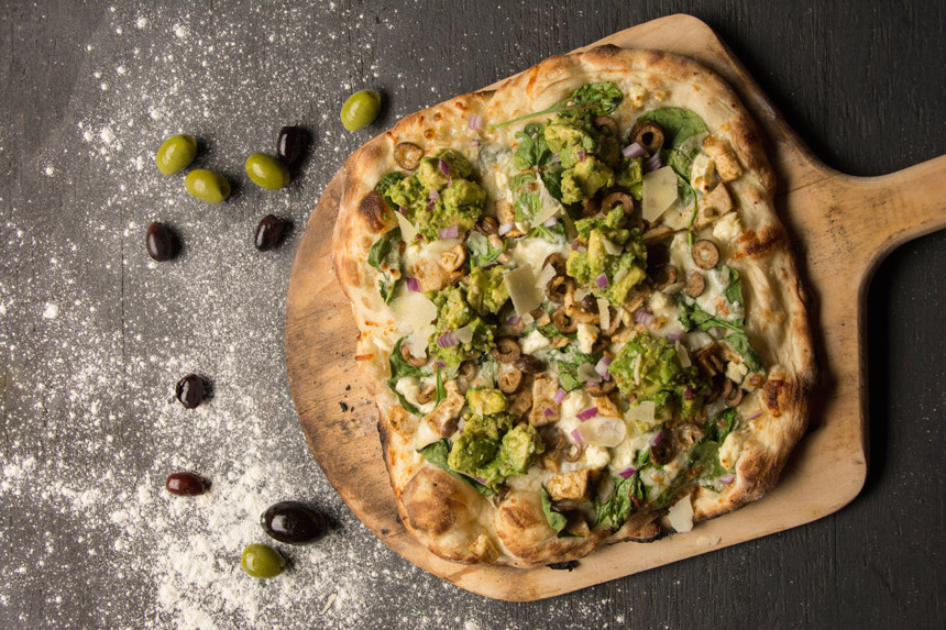 Olive Lime chicken pizza, Avocado-Olive Salsa, recipe
