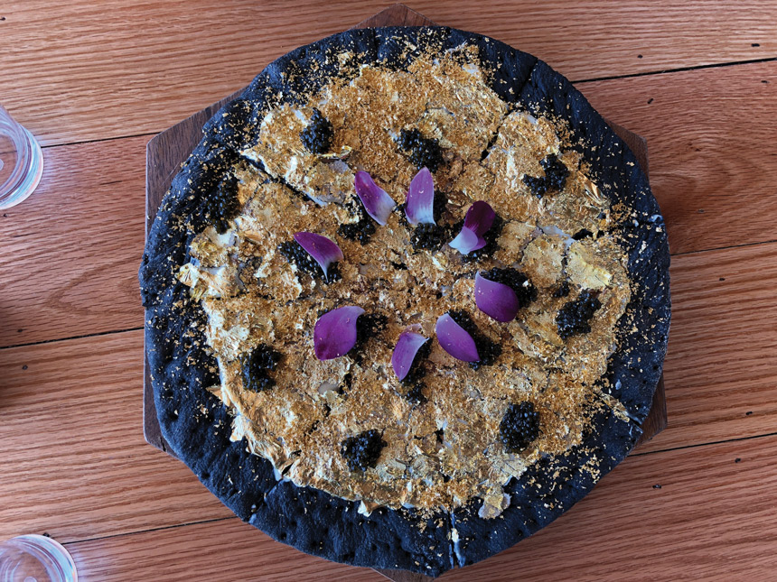 $2,000 pizza, truffle, foie gras, edible gold, squid-ink dyed crust