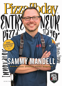 Pizza Today, magazine Cover, sammy mandell, young entrepreneur of the year, july 2018