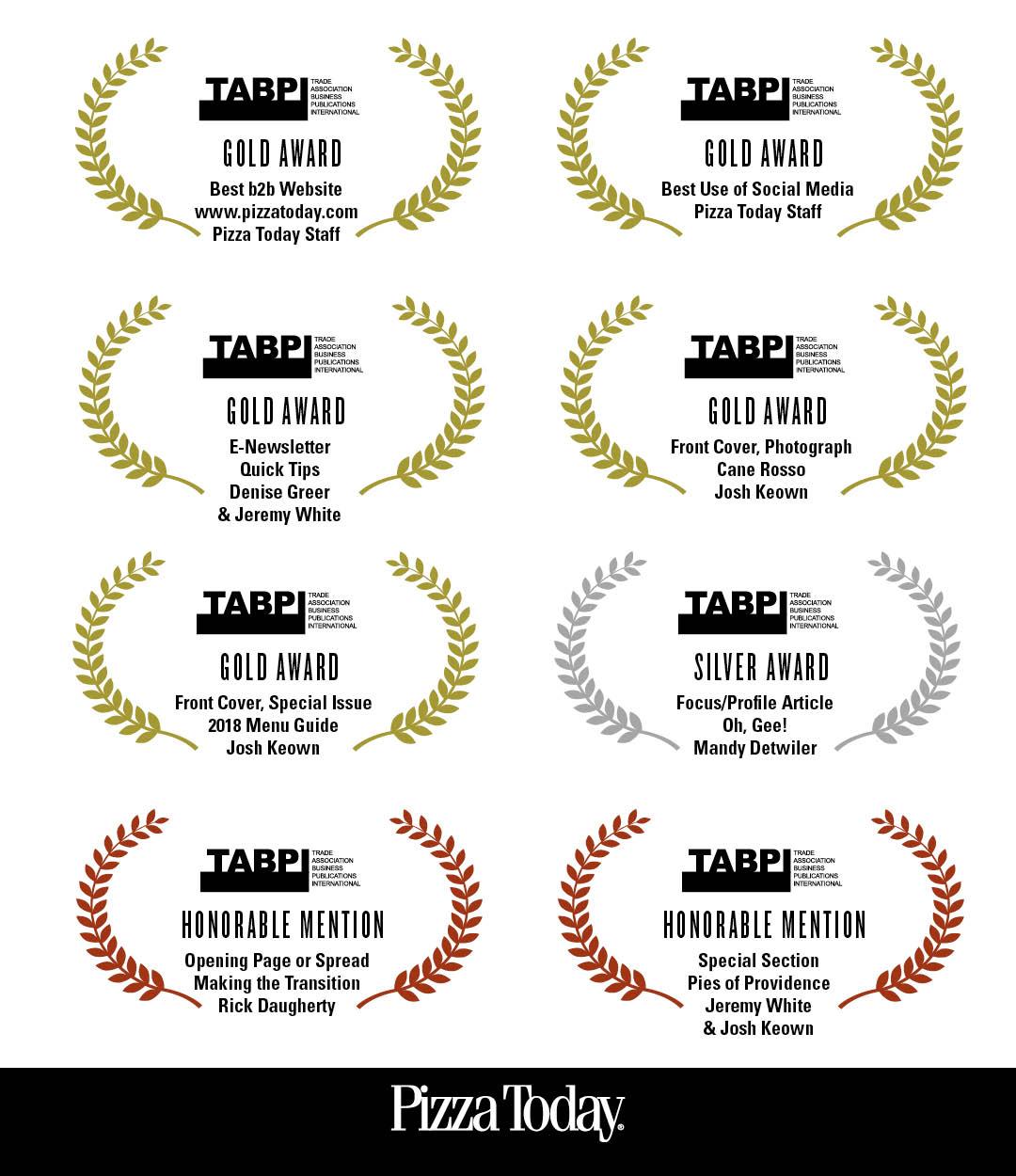 pizza today, tabbies awards, b2b magazines, most awarded b2b magazine
